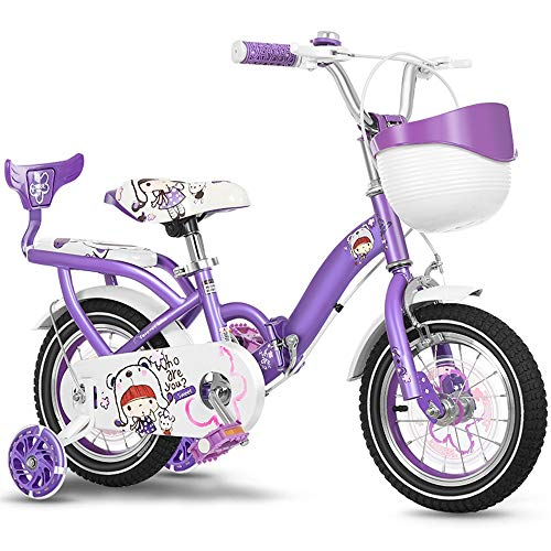 YUMEIGE Kinderfahrräder Kinderfahrräder, mit PU-Flash-Trainingsrad Kinderfahrrad mit Rückenlehne 14.12.16.18.20 Zoll Geeignet für 3-10 Kinder Jahre alt Geschenk (Color : Purple, Size : 12in)