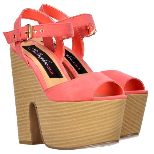 Onlineshoe Donna Peep Toe in legno Effect Block Tacchi - Two Tone Sandali estate - Coral Suede Suede Coral
