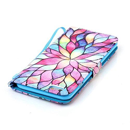 Meet de Apple iPhone 6 6S (4,7 Zoll) Bookstyle Étui Housse étui coque Case Cover smart flip cuir Case à rabat Apple iPhone 6 6S (4,7 Zoll) Coque de protection Portefeuille - éléphant ethnique couleur Lotus