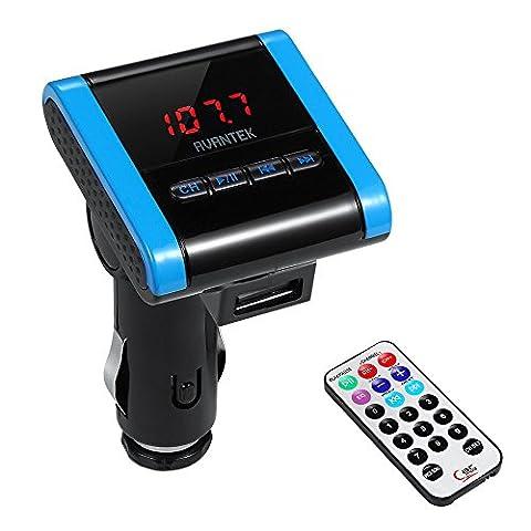 AVANTEK Transmetteur émetteur FM universel sans fil avec Jack câble 3.5 mm Port USB de recharge 1.0 A Télécommande Fonction de recherche Lecture aléatoire Lecture du dossier