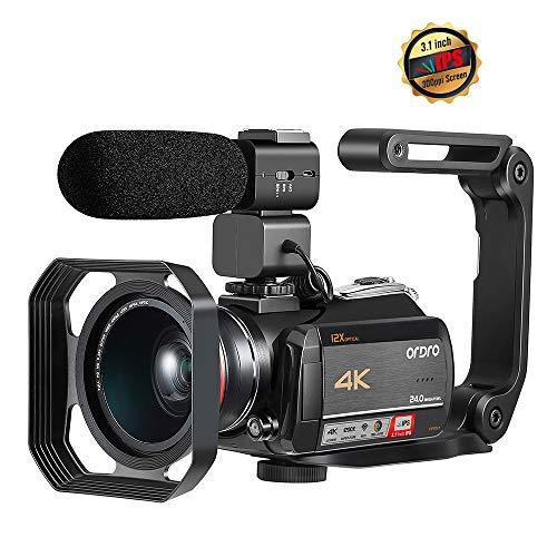 Caméscope 4K, Caméra Vidéo ORDRO AC5 Ultra HD WiFi avec Zoom Optique 12x Caméscope à écran Tactile IPS 3,1 Pouces avec Objectif Grand Angle Microphone Pare-Soleil et Support pour Appareil Photo