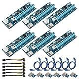 ShenyKada 6Pack 6PIN-Stromversorgungsschnittstelle PCI-E-Extender 1X auf 16X-Verlängerungskabel Adapterkarte für Riser-Adapter 6-poliges Stromkabel