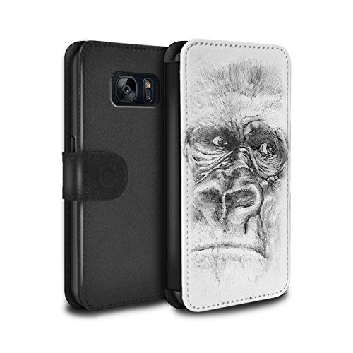 stuff4-pu-leather-wallet-flip-case-cover-for-samsung-galaxy-s7-g930-gorilla-monkey-ape-design-sketch