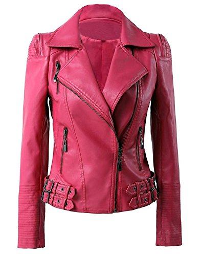 Damen PU Leder Mach Moto Biker Jacke (M, Rose) (Leder-moto-biker-jacke)