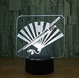 Samurai Sword Fan Giapponese 3D Nightlight Led Colorato Usb Lampada Da Tavolo Led Lampada Decorativa Lampara Per Interni