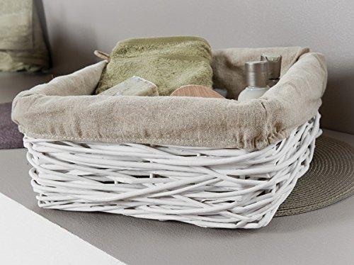 Compactor L-XL de mimbre con forro Crazy TC juego de tejer cesta para la ropa sucia, blanco