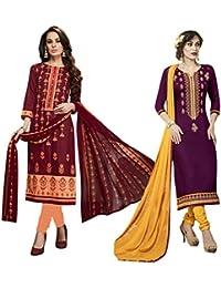 Set of 2 Thankar Crepe Dress Material (TDM141-5943.5944_Maroon.Purple)