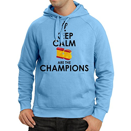 Felpa con cappuccio gli spagnoli sono i campioni, il campionato di russia il 2018, la coppa mondiale - la squadra di calcio di camicia di ammiratore della spagna (large azzulo