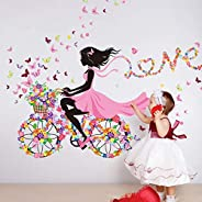 Romantic Girl's Riding bicycle Wall Stickers Decals Home Decoration Full of Flowers Butterflies Kids Room