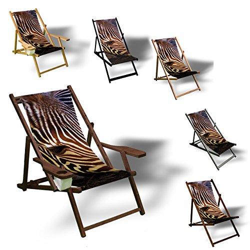 Printalio Zebra - Liegestuhl Bedruckt Balkon Garten Sonnenliege Relax Holz Terrasse | Ohne Armlehne,...
