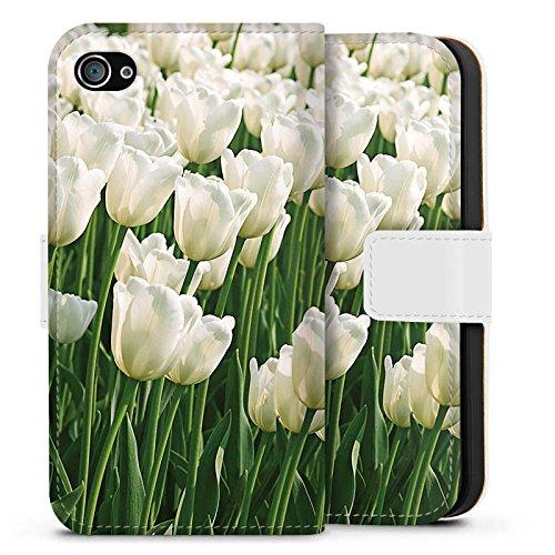 Apple iPhone X Silikon Hülle Case Schutzhülle Tulpen Blumen Blumenwiese Sideflip Tasche weiß