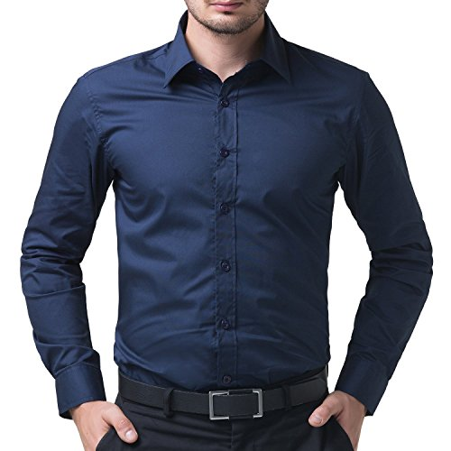 10. Being Fab Men's Solid 100% Cotton Regular Fit Casual Navy Blue Shirt