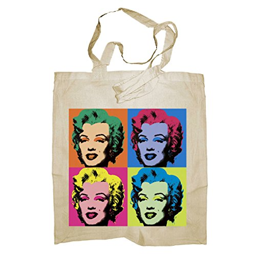 My Custom Style® Shopper in cotone naturale di colore Blu scuro modello Marilyn Monroe 002manici medi da 50cm; formato borsa 38x42cm. La seconda foto si riferisce al modello di borsa scelto, limmag
