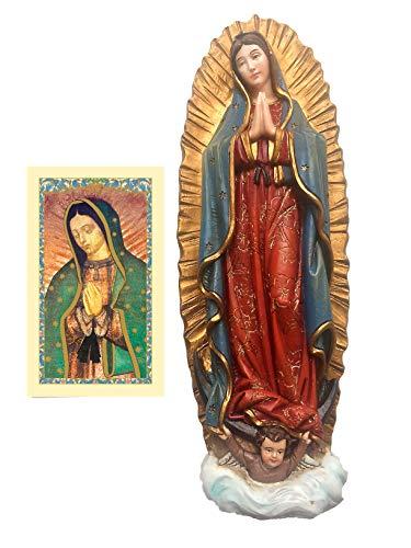 """9""""nuestra Señora de Guadalupe Estatua con tarjeta de oración laminado incluido/estatuilla de la Virgen de Guadalupe (9"""" H)-incluye tarjeta de oración"""