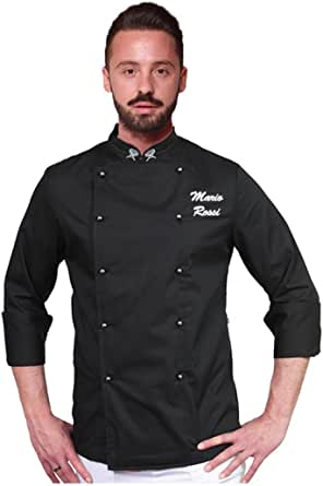 Made in Italy XL 100/% Cotone RISTOHOUSE Pantalone da Lavoro//Cuoco Nero Slim