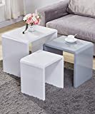 GOLDFAN Nest of 3 Tables High Gloss Coffee Table Set End Side Tables Living Room Furniture, Nesting Tables,White,Gray