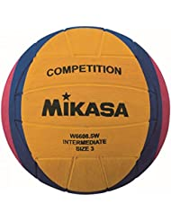Mikasa W6608.5W competition intermediate water polo ball, size 3, yellow, purple, magenta