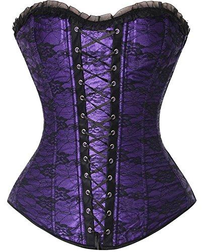 Fashion Palace Corsage Korsett vollbrust bustier gothic corsette Deman Klassisch spitze top mit...