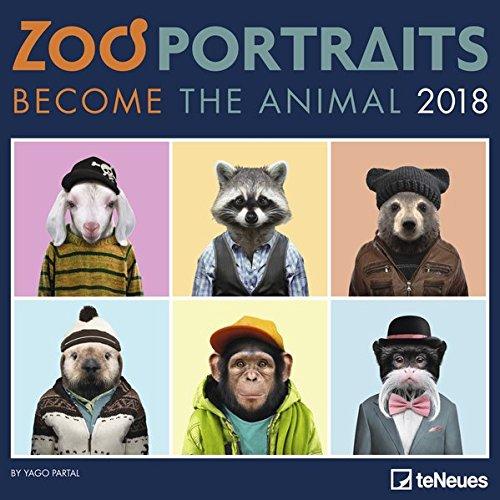 2018 Zoo Portraits Calendar - teNeues Grid Calendar - Humour Calendar - 30 x 30 cm