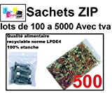 lot de 500 Sachets 60 x 80 mm fermeture zip Transparent. Sachet fermeture zip 6 x 8 cm 50u sac plastique 6x8 compatible alimentaire et congélation de marque UNIVERS GRAPHIQUE REF UGS03-500 facture avec tva déductible