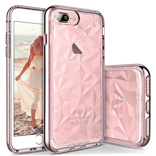 iPhone 7 Plus Funda, BENTOBEN Carcasa para iPhone 7 Plus con TPU Suave y Anti-rasguños, 3D Modelo Geométrico de Diamante con Textura, Case Cover para iPhone 7 Plus (5,5 Pulgadas), Rosa Oro