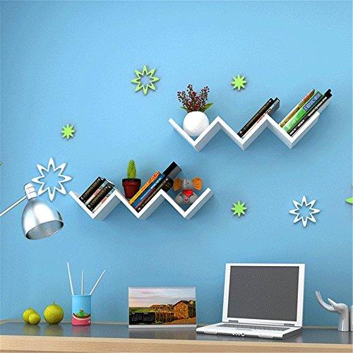 3 Farbe Kreative W-Form-Holz-Brett-Regal-an der Wand befestigte DVD CD Buch-Speicher-Klammer und als Bücherregal, geführter Regalboden, Ausstellungsregal, dekoratives Regal, Fotoregal oder Trophäendeck usw. verwendet werden (Weiß) 'w Bücherregal