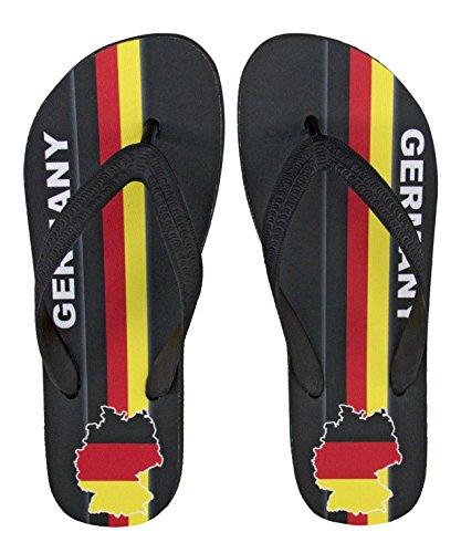 palupas Deutschland Fanartikel | Flip Flop Zehentrenner mit Motiv Germany | Black Edition