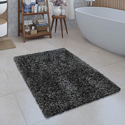 Paco Home Moderne Badematte Badezimmer Teppich Shaggy Kuschelig Weich Einfarbig Grau, Grösse:60x100 cm