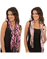 Set Of 2 Colours Womens/Ladies Check Printed Scarf With Beeds & Tassles, Size 105 x 85cms, Light & Dark Pink