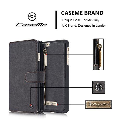 "EKINHUI CaseMe 2 in 1 Multifunktionsleder Flip Folio Großkapazität Echtleder Brieftasche Card Slots Tasche Fall Telefon Cover für iPhone 6s Plus 5,5 "" ( Color : Brown ) Black"