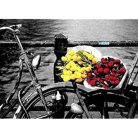 Fotografía en blanco y negro a color rojo pintura mural en el salón hay un cuadro simple pintura París romántico paisaje pinturas colgadas edificio café fresco, 01