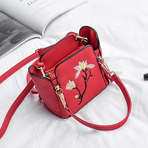 handy-tasche perle Mini-Stickerei Stickerei Blume mädchen Kette Schulter messenger bag Rot