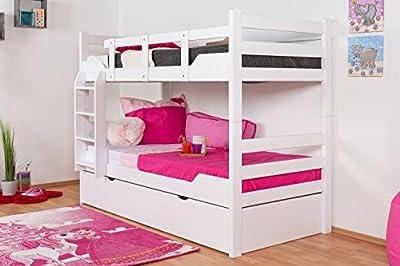"""'Stock cama con cama Buzón """"Easy Sleep K12/H Incluye Camilla Espacio y 2abdeckblenden, de cabeza y pies recto, haya Completo Madera Maciza Color Blanco-Dimensiones: 90x 200cm, divisible"""