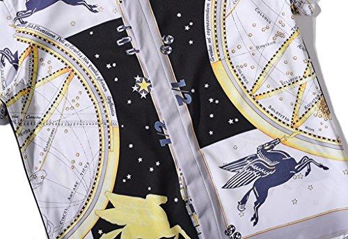 Pizoff Herren Hemdkragen mit Kurz Ärmeln Fashion Hip-Hop Tops Hemden mit Floral Blumen Luxus Palace Muster Y1782-01