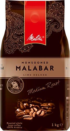 Melitta Ganze Kaffeebohne, Exklusiv nur bei Amazon, Raritäten-Kaffee, 100% Arabica, vollmundig und intensiv, mittlerer Röstgrad, Stärke 4, Monsooned Malabar Line Deluxe, 1000 g