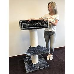 Rascador para gatos grandes Maine Coon Lounge gris oscuro postes de sisal de 20 cm de diámetro
