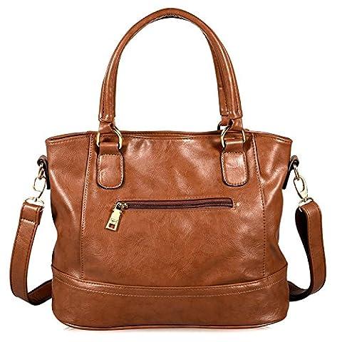 Limirror Damen Tasche Handtasche Henkeltasche Umhängetasche Schultertasche (Braun)