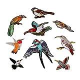 Aufnäher/Bügelbilder, Vogel-Motiv, bestickt, zum Aufnähen/Aufbügeln, für Tasche/Mütze/Jeans/Kleid, 9 Stück