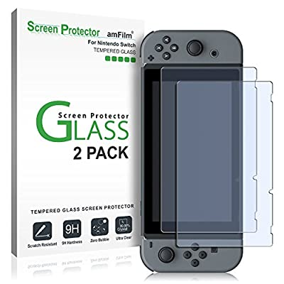 Nintendo Switch Screen Protector, amFilm Premium Tempered Glass Screen Protector for Nintendo Switch (2 Pack) from TechMatte
