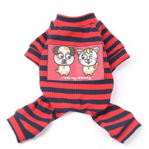 Fett Streifen-baumwoll-shirt (Urijk Haustier Pyjamas Hund Katze Baumwolle Streifen Schlafanzüge Pyjama Cozy Soft Jumpsuits XS bis XXL Jacken für Kleine und Mittelgroße Hunde)