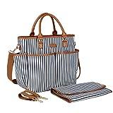 BAOSHA MY-01 Canvas Baby Wickeltasche mit Wickelauflage Isolierte Tasche und Kinderwagenbefestigung(Blaue Streifen)