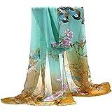 TININNA Bufanda de seda,Mantón Bufanda Estolas de la gasa larga de la flor del pájaro del paisaje Dibujos de Primavera del invierno del otoño para mujeres de el 160 * 50cm-10#