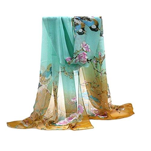 TININNA Bufanda de seda,Mantón Bufanda Estolas de la gasa larga de la flor del pájaro del paisaje Dibujos de Primavera del invierno del otoño para mujeres de el 160 * 50cm