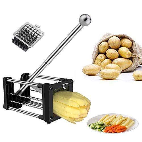 Telle Pommes Frites Schneider, Gemüseschneider, Kartoffelschneider mit 2 verschiedenen Größen Super-Edelstahl-Scharfe Ersatzklingen und Rutschfeste Füße, ideal für Kartoffeln, Karotten, Gurken Potato Cutter