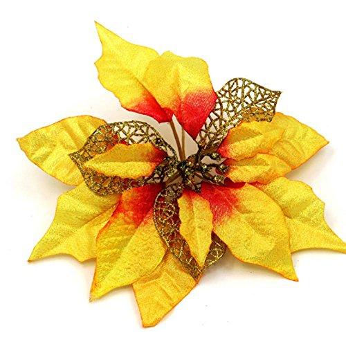 YUYU Decorazioni per l'albero di Natale artificiale fiore giallo vacanza doni (2)
