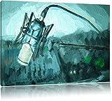 Mikrofon mit Musikanlagen Pinsel Effekt, Format: 120x80 auf Leinwand, XXL riesige Bilder fertig gerahmt mit Keilrahmen, Kunstdruck auf Wandbild mit Rahmen, günstiger als Gemälde oder Ölbild, kein Poster oder Plakat