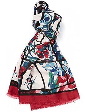 Maxi Fular Gran Pañuelo con Motivo de Fantasía Multicolor de Algodón / Viscosa Efecto Lino 90 x 180 cm Diseño...