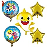 My Party Store Dot Com Cute Underwater Ocean Baby Shark Mermaid Theme Combo Foil Balloons Set (Pack of 5) for Girls, Boys, Ki