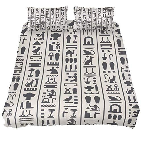 Bennigiry Sphinx Ägyptische Pyramiden 3-teiliges Bettwäsche-Set aus atmungsaktiver Mikrofaser mit Reißverschluss und Bändern, Doppelbett, 150 x 200 cm, Polyester, Multi, Queen 88 x 90 \19 x 29 in - ägyptische Komfort