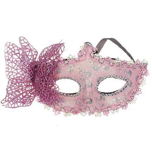 Halloween Schmetterling Maske Damen Augenmaske Gothic Maskerade Anwendbar Partei Kostüm Abendkleid,Pink